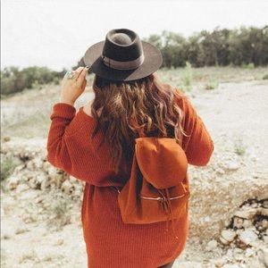 Faux Suede Orange Backpack